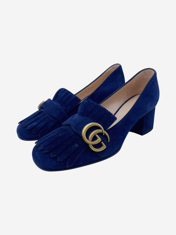Marmont blue suede fringed low heels - size EU 36.5