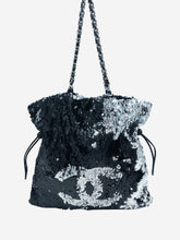 Load image into Gallery viewer, Large reversible sequin tote bag in silver and black