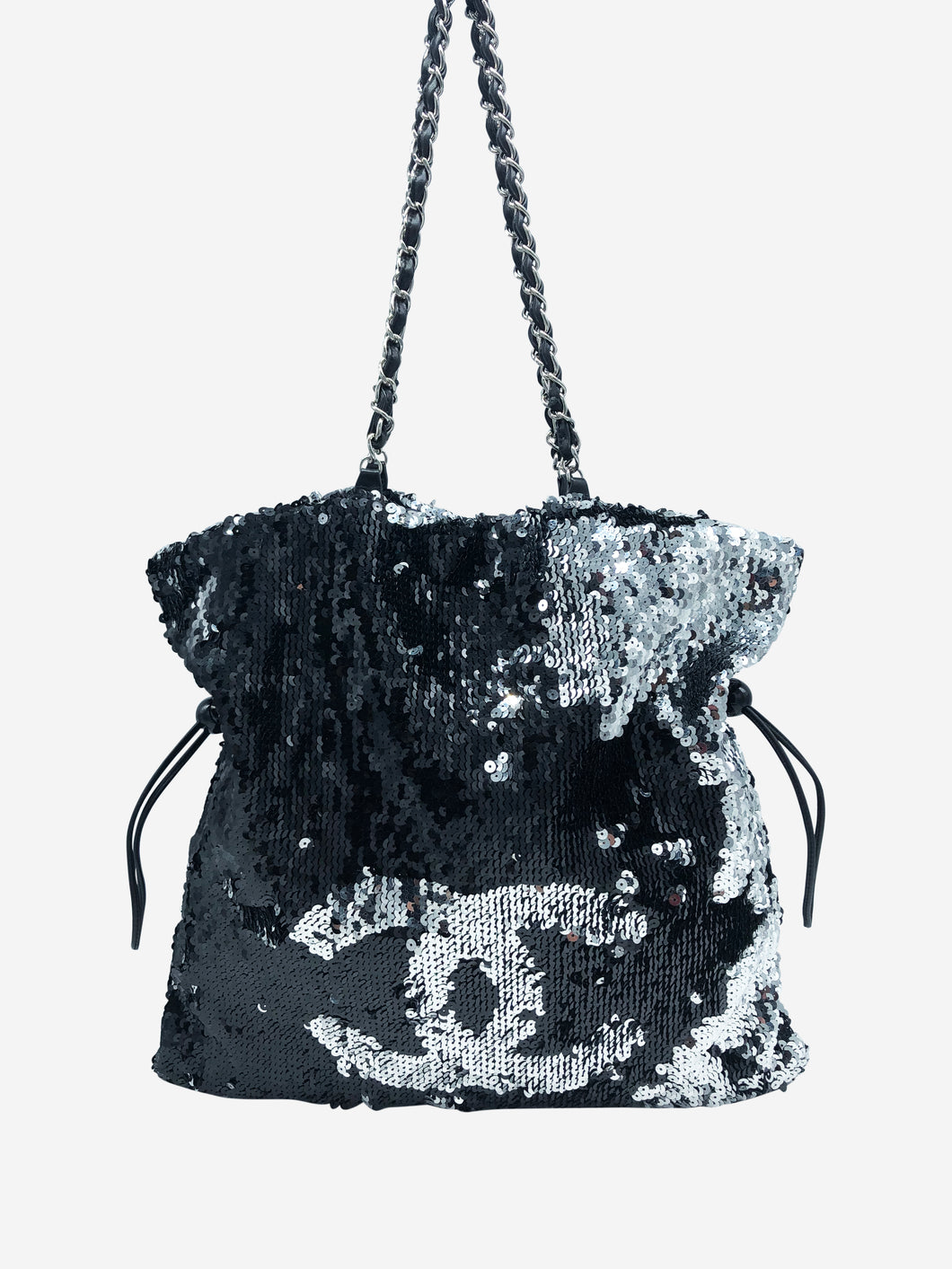 Large reversible sequin tote bag in silver and black