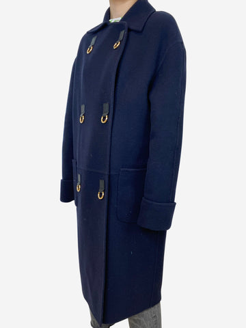 Navy & gold wool & cashmere coat - size FR 34