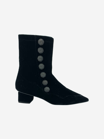 Rue St Black Velvet Embroidered and Buttoned Ankle Boots Size 4 RRP £463 Rue St - Timpanys