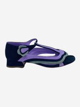 Load image into Gallery viewer, Lilac and black pattern open toe sandal with low heel- size UK 4