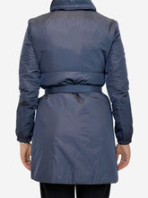 Load image into Gallery viewer, Navy techno fabric rain coat with belt- size UK 10