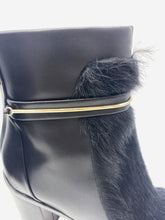 Load image into Gallery viewer, Black fur insert heeled boots with silver detailing - size UK 6