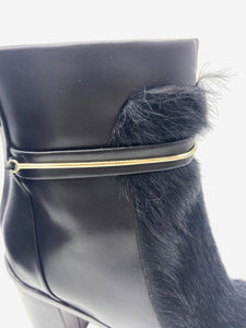 Black fur insert heeled boots with silver detailing - size UK 6