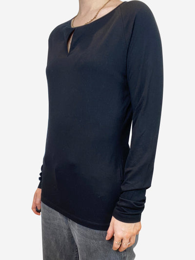 Black long sleeve key hole shirt - size S