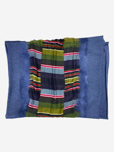 Blue cashmere and silk stripe scarf