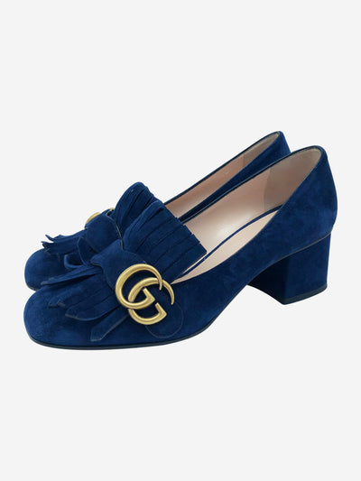 Navy suede heeled loafers with gold monogram accent- size EU 37