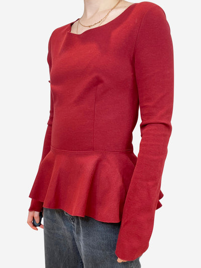 Burgundy peplum sleeve top - size IT 42