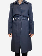 Load image into Gallery viewer, Navy navy polyester belted coat - size 8