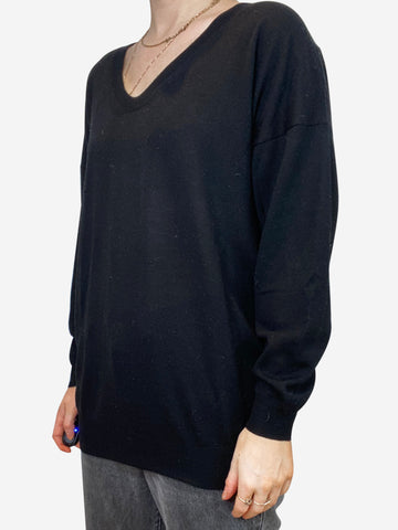 Black sweater with nude sequin back - size S