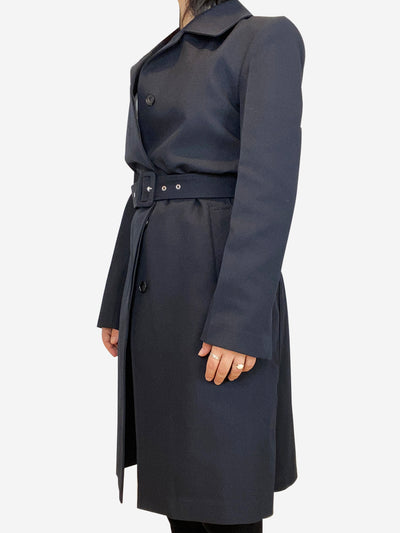 Navy ribbed coat with buckle belt- size UK 8