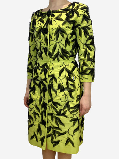 Lime and black embellished coat dress- zise UK 10