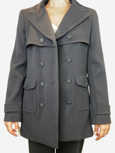 Load image into Gallery viewer, Black double breasted pea coat- size UK 14