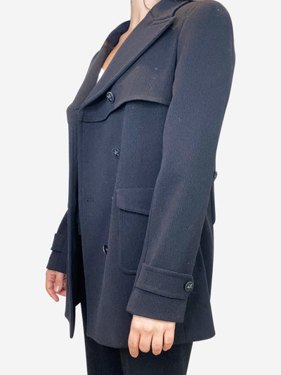 Black double breasted pea coat- size UK 14