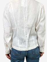 Load image into Gallery viewer, White linen frill collar shirt - size FR 38