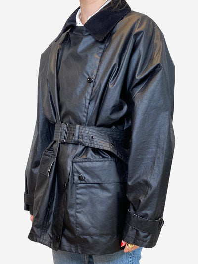 Agatha black belted trimmed waxed cotton jacket - size UK 12