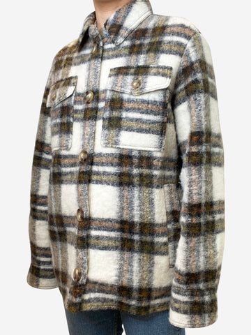 Gastoni cream & brown checked wool-blend jacket - size FR 36