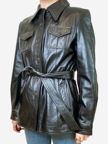 Dark brown belted leather jacket - size US 6