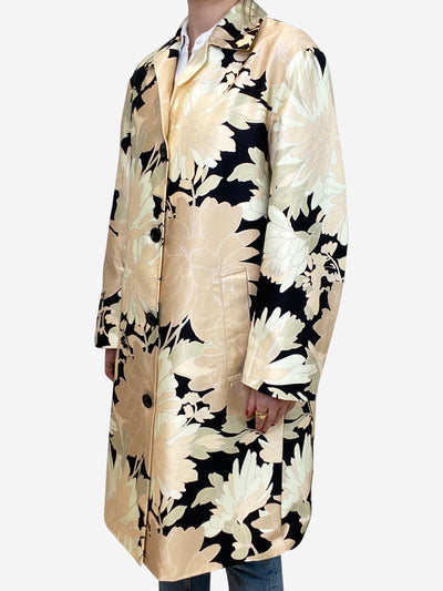 Black, peach and green floral coat - size UK 8