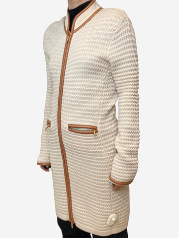 Beige longline cardigan with leather trim - size US 6