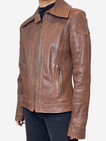 Brown short leather jacket - size IT 42