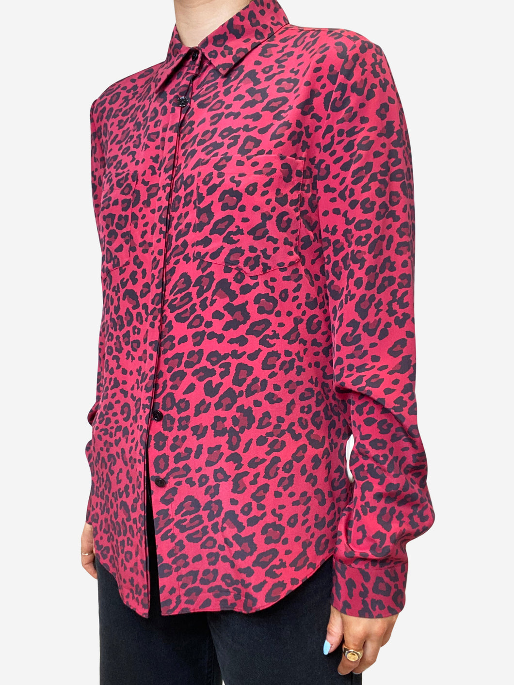 Red & black leopard print blouse - size S