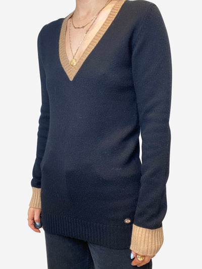 Black & brown cashmere v-neck jumper - size FR 38