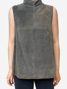 Amanda Wakeley Moon khaki suede sleeveless tops - size UK 12