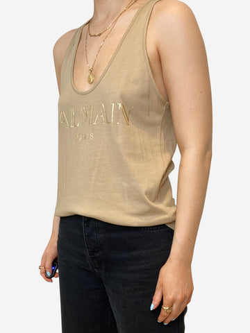 Beige vest with gold logo - size FR 38