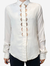 Load image into Gallery viewer, Cream scalloped cut out blouse - size FR 34