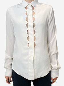 Chloe Cream scalloped cut out blouse - size FR 34