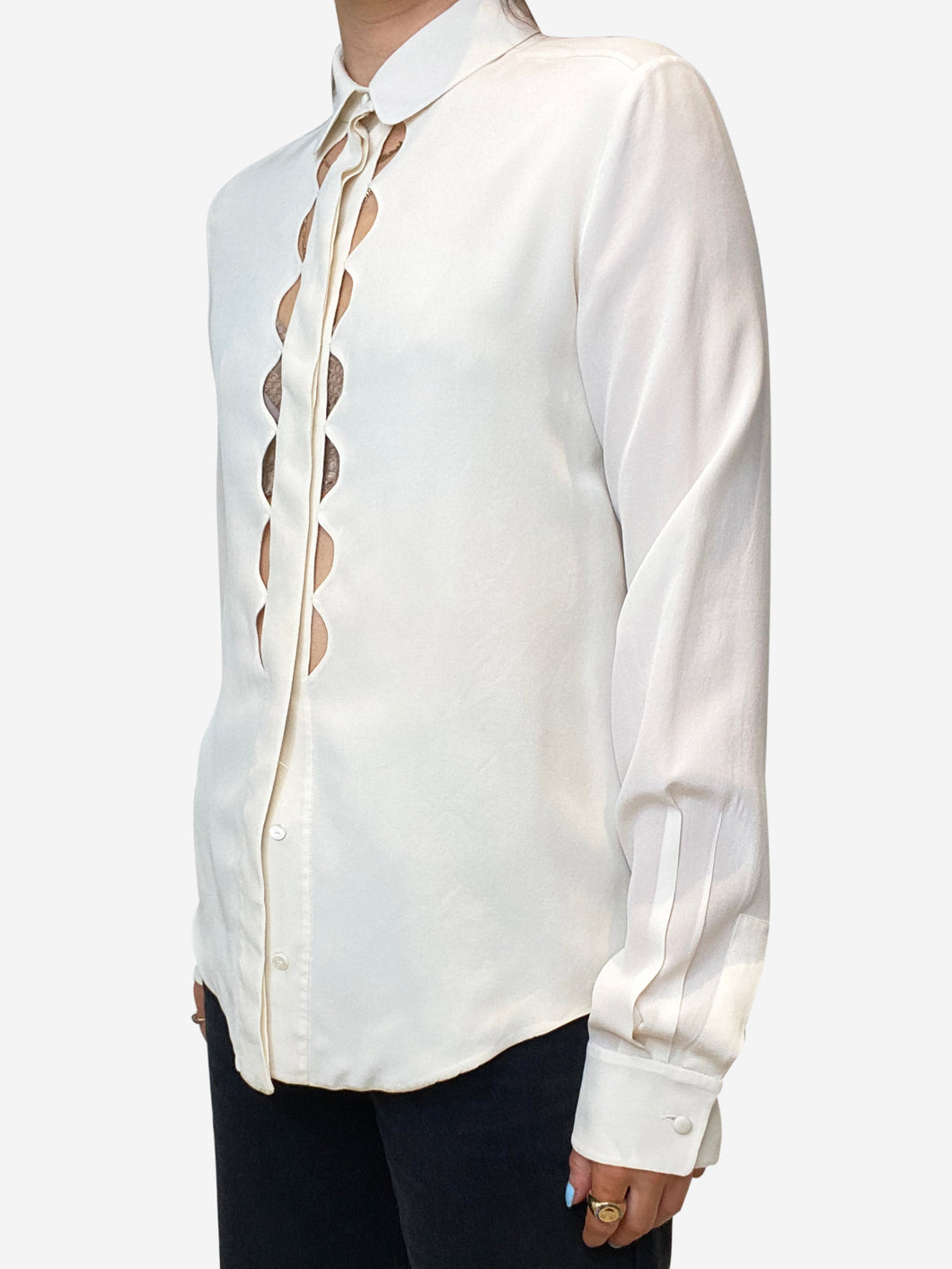 Cream scalloped cut out blouse - size FR 34