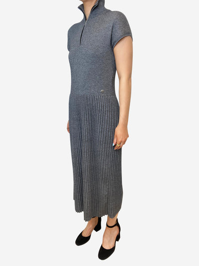 Grey pleated zip-up midi dress - size FR 42