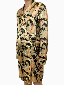 Dries Van Noten Black, green and peach floral wrap dress - size XS