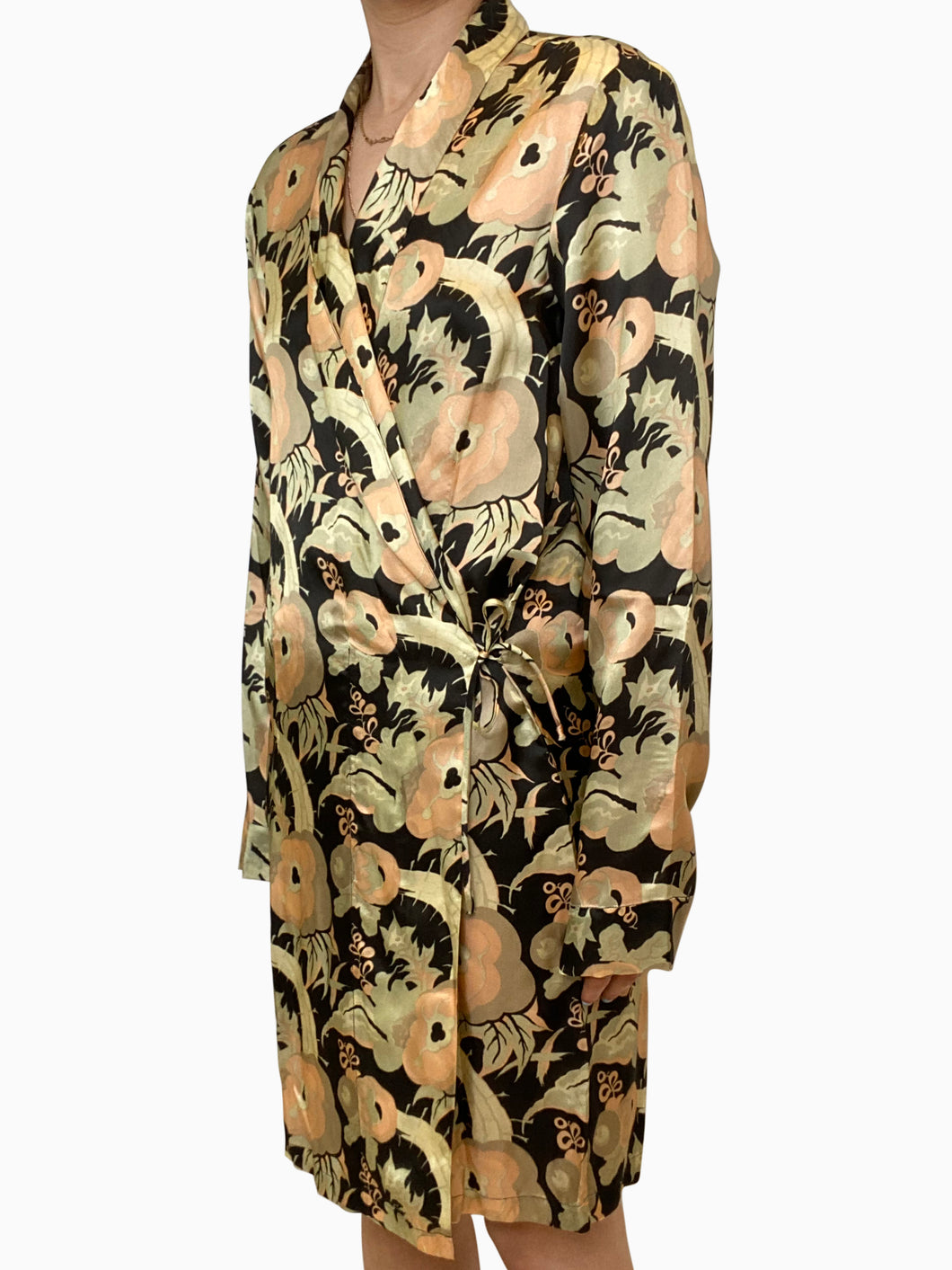 Black, green and peach floral wrap dress - size XS