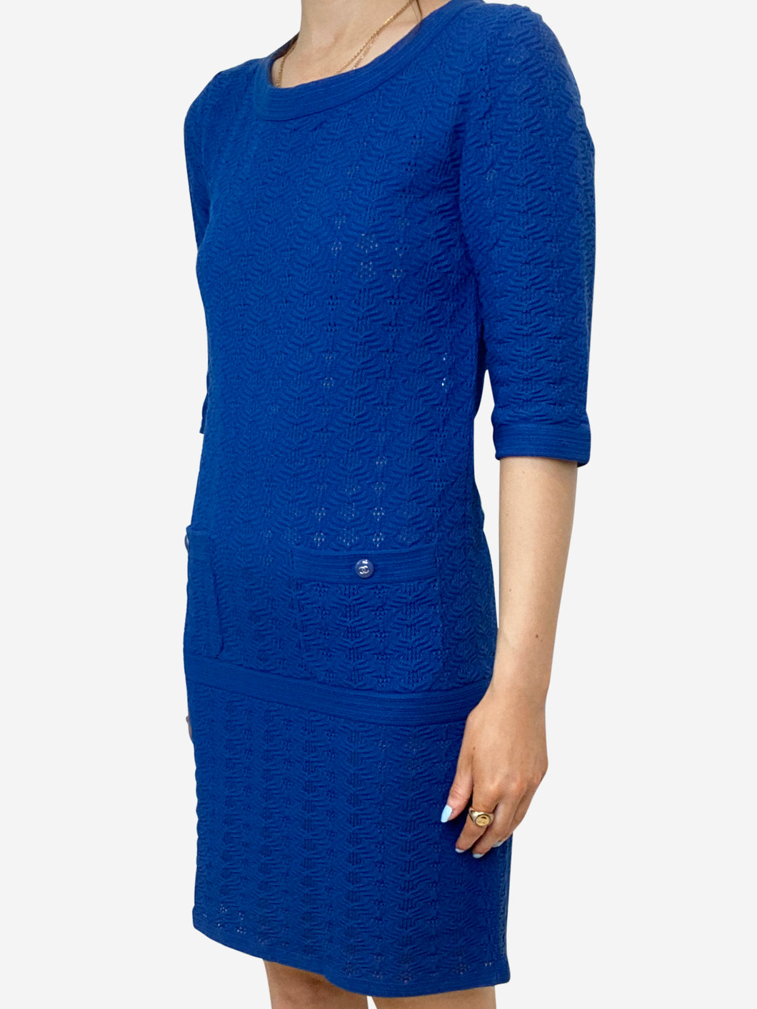 Blue knitted short sleeve dress - size FR 34