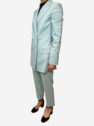Light blue double breasted linen-blend suit - size US 8