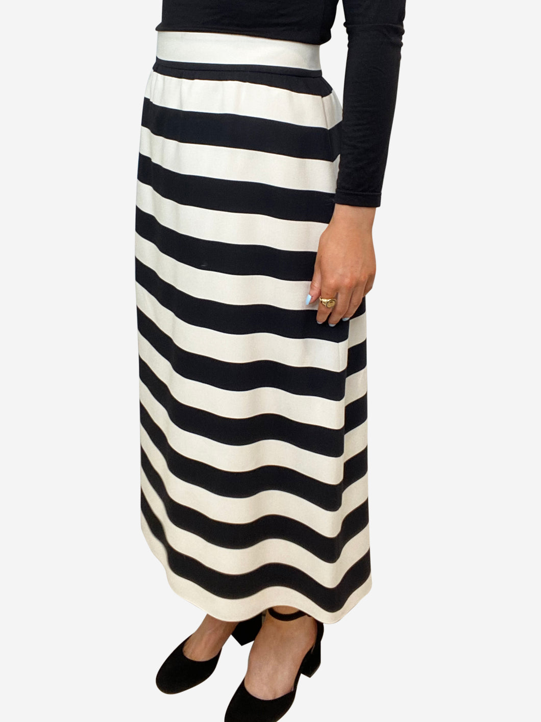 Black & white striped midi skirt - size IT 44