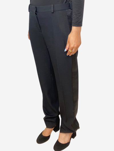 Black satin panelled tuxedo trousers - size FR 36