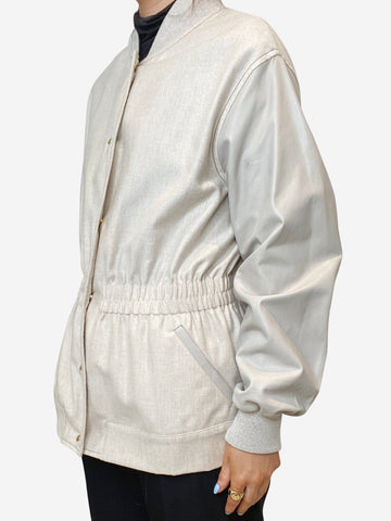 Cream cashmere-blend jacket with leather sleeves - size IT 42