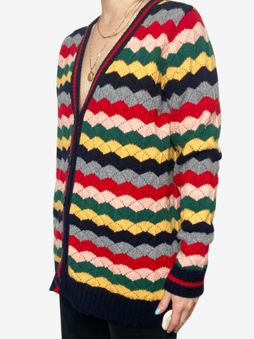 Multicolour striped chunky knit cardigan - size S
