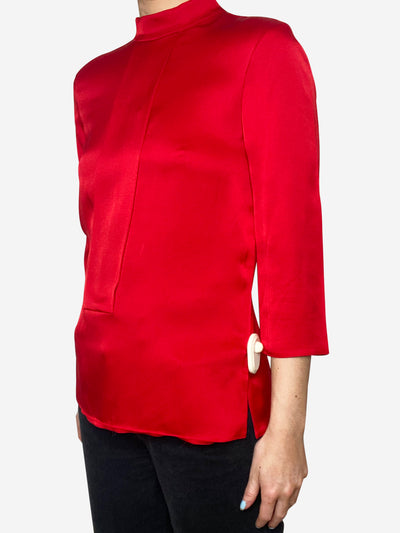 Red 3/4 sleeve silk blouse - size IT 38