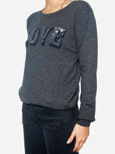 "Load image into Gallery viewer, Grey sweater with ""Love"" sequin front - size S"