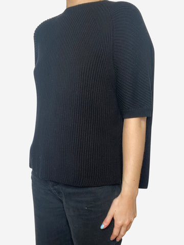 Black short sleeve sweater with open back - size S
