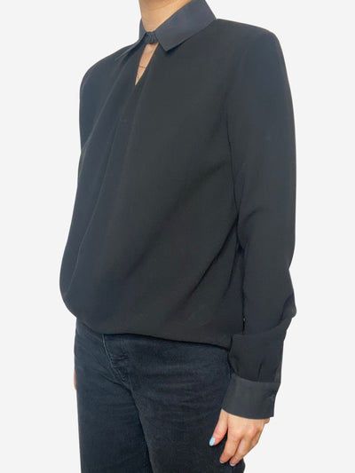 Black collared shirt with cut out - size S