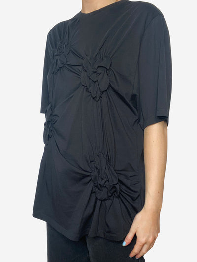 Black ruched front t-shirt - size L