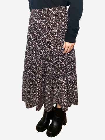 Burgundy tiered floral midi skirt - size L