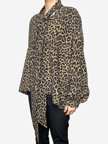 Leopard print oversized pussy bow blouse - size FR 38