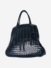 Load image into Gallery viewer, Black patent woven top handle tote bag